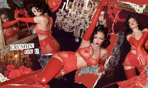 Rihanna in Red Lingerie for an Early Valentine's Day