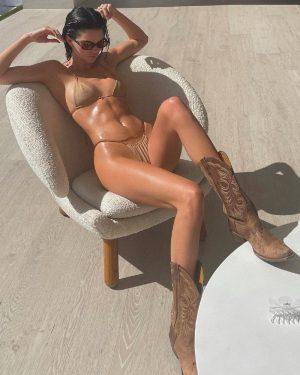 Kendall Jenner Sweaty in a Bikini and Cowboy Boots