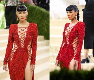 Megan Fox Beautiful Boobs In A Red Dress